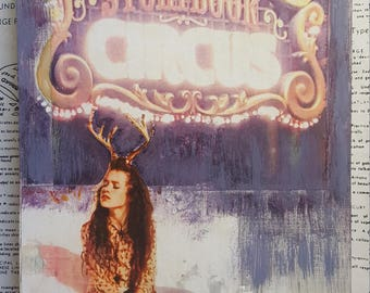 Girl, Antlers, Circus, Tiny Art, Unique Fine Art, 6 x 8, Miniature, Collage, Deer, Snow, Winter Landscape, Nature, Photography