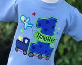All Aboard First Birthday Shirt - Personalized Birthday Shirt - Train Birthday Shirt - Airplane Shirt - Transportation Party - Train Party