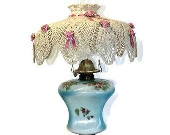 Victorian Oil Lamp, Crocheted Shade, Parlor Lamp, Kerosene Lamp, Not Converted, GWTW Oil Lamp, Blue Pink Lamp, Victorian Decor, Table Lamp