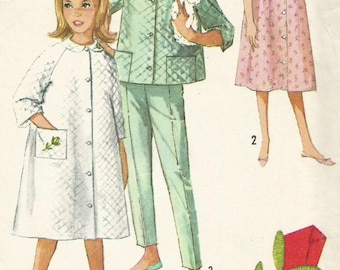 Vintage 60s Simplicity 5217 Toddler Girls Front Button Robe, Nightgown, Pajamas with Quilted Jacket Sewing Pattern Size 4