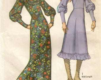 Vintage 70s Simplicity 9454 Misses Steam Punk Granny Dress with Leg-o-Mutton Sleeves Plus Bucket Hat Sewing Pattern Size 12 Bust 34