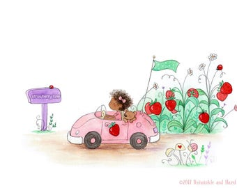 Strawberry Lane - Girl with Curly Hair in Race Car - Art Print