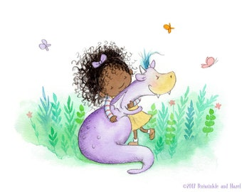 Her Best Friend is a Dragon - Black Girl and Purple Dragon - Art Print - Children