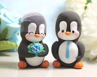 Unique Penguin wedding cake toppers - love birds personalized black white blue elegant cute bride groom figurines wedding gift anniversary
