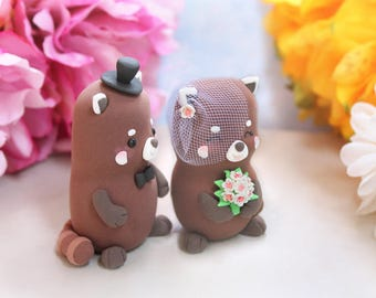 Custom Red Panda wedding cake toppers - bride and groom personalized - figurines cherry flowers pink personalized unique fall autumn spring