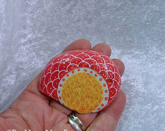 Be Here Now: Hand-Painted Mandala Meditation Stone