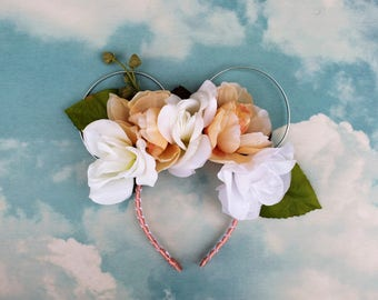 Blushing Bride Ears   Mickey Ears   Mickey Ears Headband   Floral Ears   Boho Ears