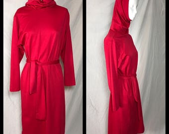 1970s J. J. Dean Pink Hued Red Dress with Convertible Cowl Hood - Size 10