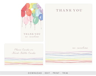 Rainbow Note Cards and Gift Tags | Printable Rainbow Birthday Note Cards, Printable Rainbow Thank You, Personalized Printable Note Cards