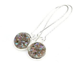 SUMMER SALE Druzy Earrings Silver Sugar Quartz Specks of Rainbow Sparkle Shimmer Luster Silver Long Dangles High Fashion Style Modern Style