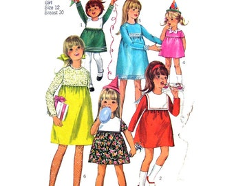 Girls Empire Dress Pattern Simplicity 6811 Petal or Sailor Collar High Waist Party Dress Girls Size 12 Vintage Sewing Pattern UNCUT