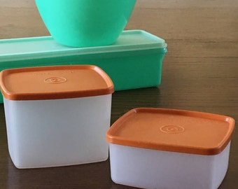 Square Round Tupperware Containers, Vintage 70s Tupperware, Harvest Gold Seals/Lids, Containers 311, 312, Seal 310