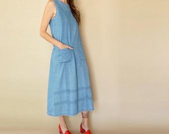 90s CHAMBRAY denim MARKET dress S-M