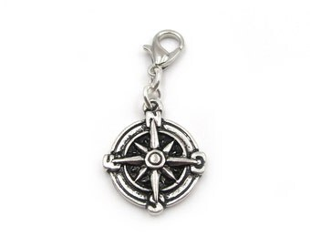 NEW Nautical Compass - Zipper Pull - Clip-On Charm