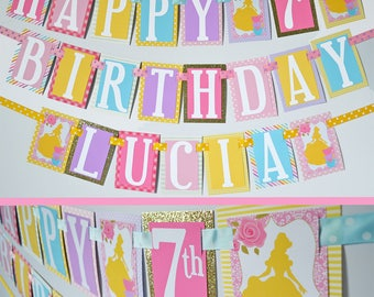 Princess Tea Party Birthday Party Banner Decorations Fully Assembled | Princess Birthday | Princess Party |  Yellow Pink Lavender Blue |