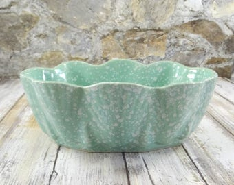 Mid Century Modern Green Speckled Pottery Planter, Garden Decor, Succulent Planter, Vintage Flower Pot