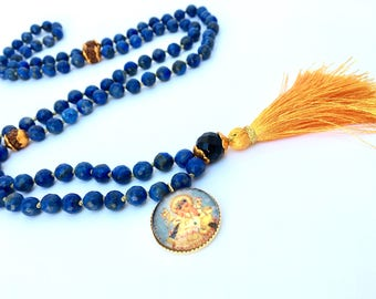 108 Beads Hand Knotted Lapis Lazuli Mala With Ganesha Pendant, Yoga jewelry, mala necklace