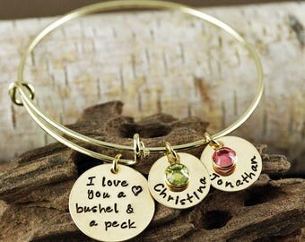 Personalized Bangle Bracelet, I love you a bushel and a peck Jewelry - Gold Bangle Charm Bracelet - Name Bracelet