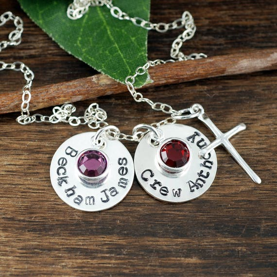 Kids Name Necklace, Personalized Mom Necklace, Stocking Stuffer, Christmas Gift for Her, Birthstone Necklace, Gift for Mom, Gift for WIfe