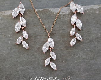 Rose Gold Vintage Style Bridal Leaf Earring Necklace Set, Rose Gold, Gold or Silver Wedding Earrings, Marquise Chandelier Earrings - 'AVITA'