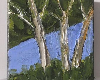 Miniature Impressionist Painting 4x4 Plein Air Landscape California Summer Stream Lynne French