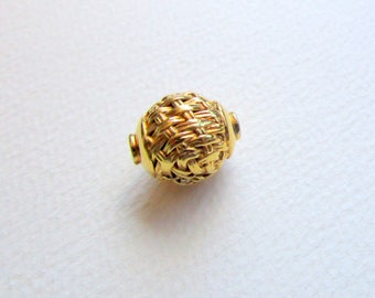 Two Bali 23K Gold Vermeil Beads with Woven Design