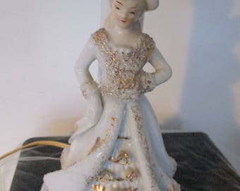 Vintage Lamp  Standing Victorian Woman ~ Pastels,Working Light  Japan