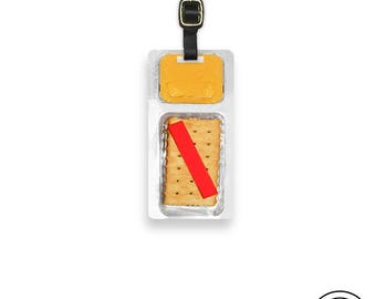 Luggage Tag Cheese Crackers Luggage Tag Personalized Luggage Tag - Metal Tag Funny Food Single Tag