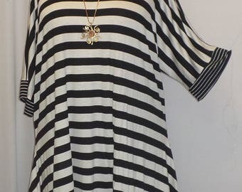 Womens Plus Size Top, Coco and Juan, Lagenlook, Plus Size Tunic, Black Stripe, Rayon Knit Drape Sides, Tunic Top, One Size Bust to 60 inches