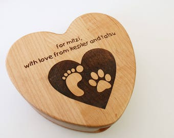 Personalized Heart Keepsake Storage Box - Photo Engraved