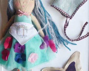 forest fairy doll pixie fairy doll faery cloth doll rag doll art doll kids nursery decor