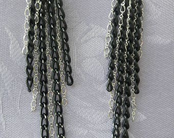 Unique Long Black Diamond cut curb Chain and Sterling Silver Chain Earrings