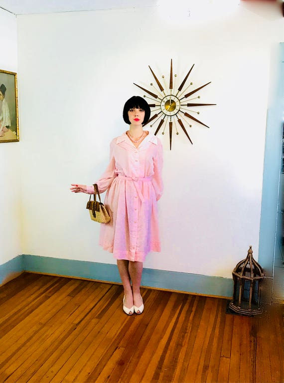 Pink 1950 Dress, Cotton Day Dress, 50s Retro Housewife, Full Sweep, Pintuck Shirt Dress, 60s MAD MEN, Sheer Long Sleeve, Plus Size 1X 14 16