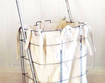Vintage Market Cart, Large Collapsible Cart with Basket, Wheels and Liner