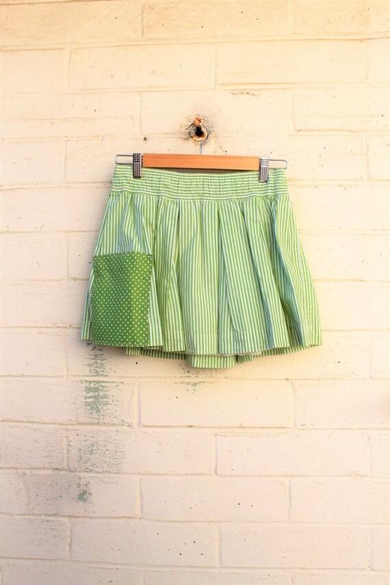 S/M Apple Green Striped upcycled skirt/cotton skirt/Skirt/mini skirt/farmhouse chic/lucysroom/Upcycled Clothing/Upcycled Clothing/Fairy