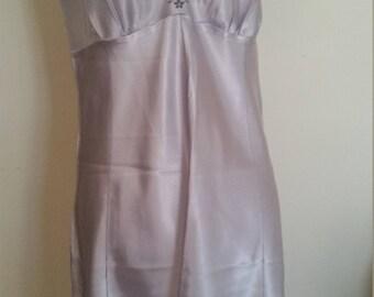 vintage lingerie, pale lavender slip, vintage underwear, blossom embroidery, tiny sequins, embroidered slip