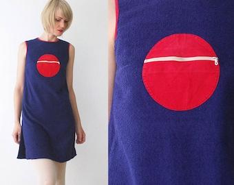 60s mini dress. French vintage mod graphic circle pocket tunic dress. terry cloth dress. 60s tunic - xs
