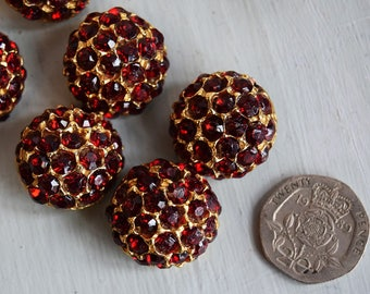 1960's Red Glass Rhineston Buttons x 8