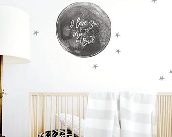 Moon and Stars Wall Decal, Moon Decor, Stars, Gray, Wall Decal, Removable, Reusable, Fabric, Boys Decor. To the Moon and Back Wall Decal