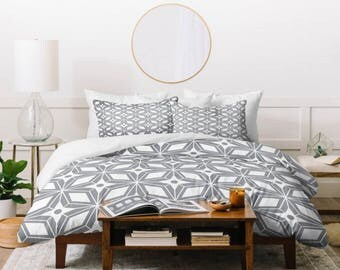 Gray Midcentury Modern Duvet Cover // Home Decor // Twin Queen King Sizes // Starburst Grey Design // Bedding // Bedroom Decor // Geometric