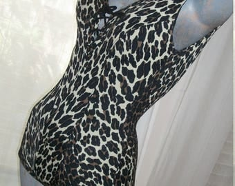 1950s Authentic Vintage Cole of California Rockabilly Leopard Bathing Suit Size S or XS