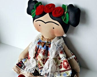 Frida kahlo rag doll  handmade diego rivera wife  doll culture mexican famous painter frida ready to ship frida best seller children doll