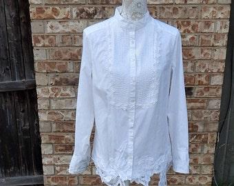 White Cotton Altered Blouse, BoHo style, shabby chic, romantic blouse,  size Large ,cottage chic , mori girl style, Battonburg Lace bottom