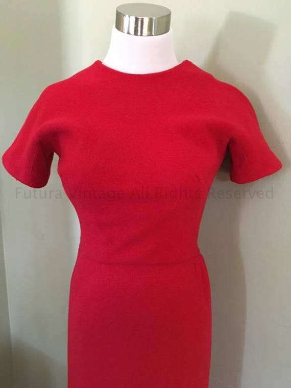"1950s True Vintage Knock Out Lipstick Red Form Fitting Curve Hugging Wiggle Dress- 32""  33"" Bust"