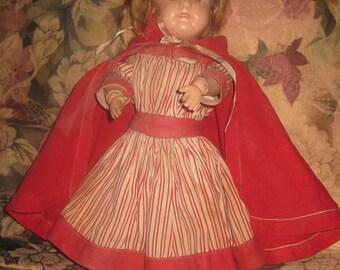 """Antique Schoenhut Girl Doll, """"Little Red riding Hood"""" Outfit"""