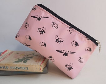 Baby Pink Leather Makeup Bag with Ladybirds print, Ladybird, Ladybug, Makeup Bag, Pencil Case, Gift for Her, Teenage gift, Mum Gift, Pink