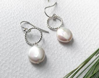 Coin Pearl and Sterling Silver Earrings - Nickel Free Pearl Drop Earrings - Freshwater Pearl Everyday Earrings with Silver Circles