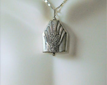 KISMET BELL, Vintage Sterling Silver Silverware Bell Pendant with Fan Design on 30 inch Sterling Silver Link Chain, BN8