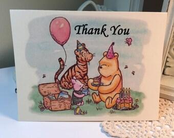Winnie The Pooh Thank You Card.. Classic Winnie The Pooh Thank You Cards..Set of 10