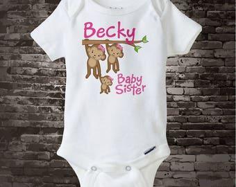 Baby Sister Onesie or Shirt, Baby Sister Monkey T-shirt, Personalized Baby Sister Monkey Tee Shirt or Onesie 01172012b